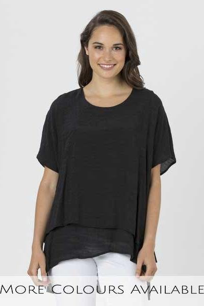 LAYER CRINKLE TOP - No image set - Ebony Boutique NZ