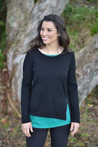 LAYERED ZIP TOP - EAA423 shown in Black/Kingfisher - Ebony Boutique NZ