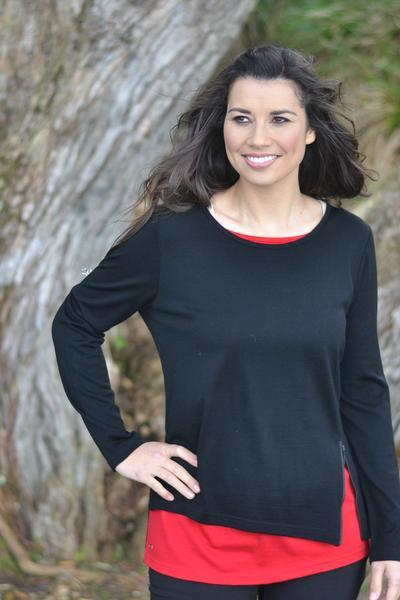 LAYERED ZIP TOP - EAA423 shown in Black/Ruby - Ebony Boutique NZ
