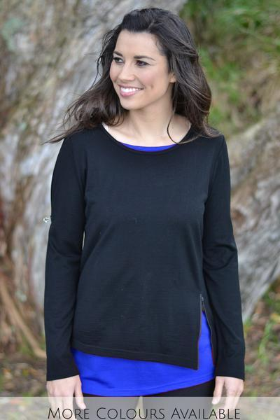LAYERED ZIP TOP - EAA423 shown in Black/Ocean - Ebony Boutique NZ