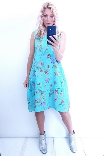 LIGHT TURQUOISE HERB & TWIRL BUTTON TANK DRESS - LIGHT TURQUOISE HERB & TWIRL BUTTON TANK DRESS - Ebony Boutique NZ