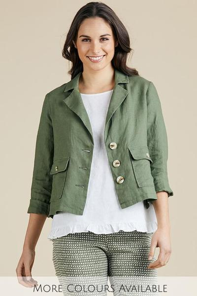 LINEN BLAZER JACKET - GSM37285 - Ebony Boutique NZ