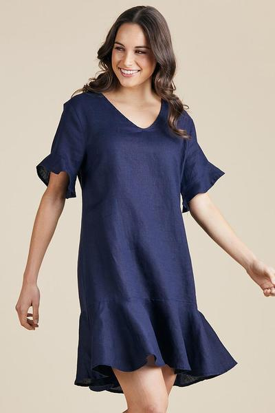 LINEN FLARE DRESS - GSM37353 - Ebony Boutique NZ