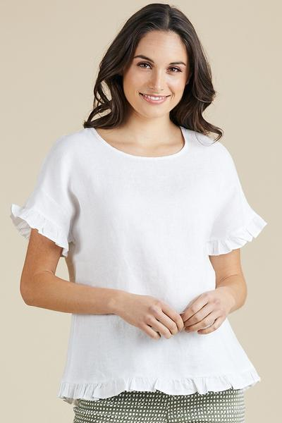 LINEN FRILL TRIM TOP - LINEN FRILL TRIM TOP - Ebony Boutique NZ