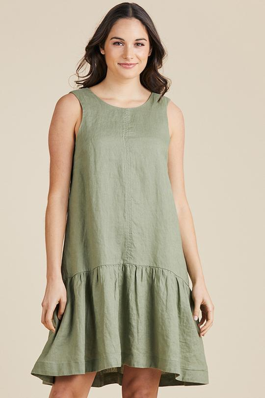 LINEN HEM FRILL DRESS - GSM37026 - Ebony Boutique NZ