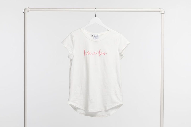 LOGO TEE WHITE WITH PINK PRINT - Home Lee Logo Tee - Ebony Boutique NZ