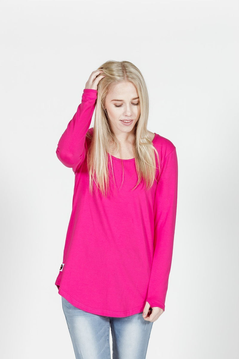 LONG SLEEVE TEE PINK - No image set - Ebony Boutique NZ