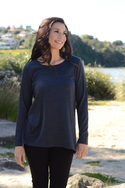 LONGLINE MERINO TOP A-LINE ROUND NECK - LONGLINE MERINO TOP A-LINE ROUND NECK - Ebony Boutique NZ