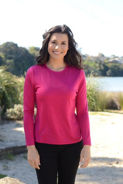 MERINO JUMPER SATIN ELASTIC TRIM ROUND NECK - MERINO JUMPER SATIN ELASTIC TRIM ROUND NECK - Ebony Boutique NZ