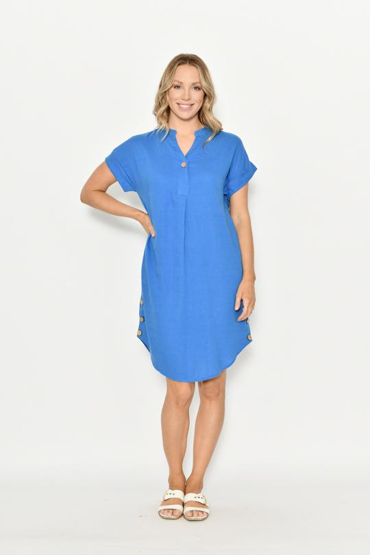 ONE BUTTON STAND COLLAR LINEN DRESS - ONE BUTTON STAND COLLAR LINEN DRESS - Ebony Boutique NZ