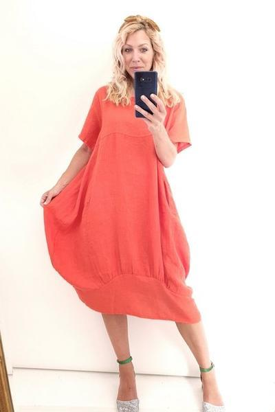 ORANGE PLAIN MID SLEEVE MAXI DRESS - ORANGE PLAIN MID SLEEVE MAXI DRESS - Ebony Boutique NZ