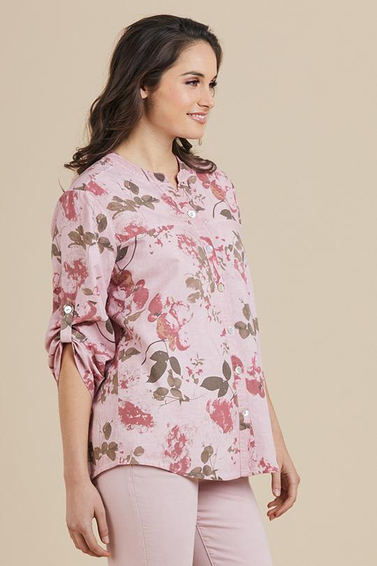 PINK FLORAL BUTTONED SHIRT - THR37615 - Ebony Boutique NZ