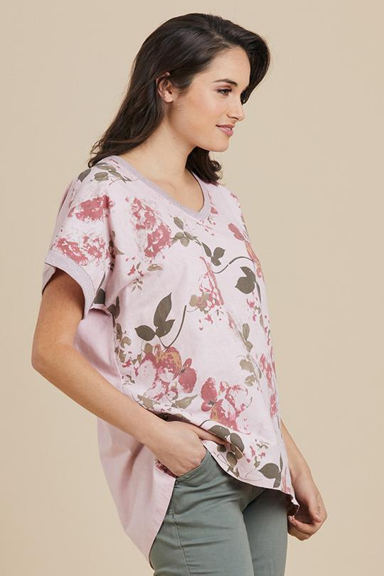 PINK FLORAL V NECK TOP - THR37614 - Ebony Boutique NZ