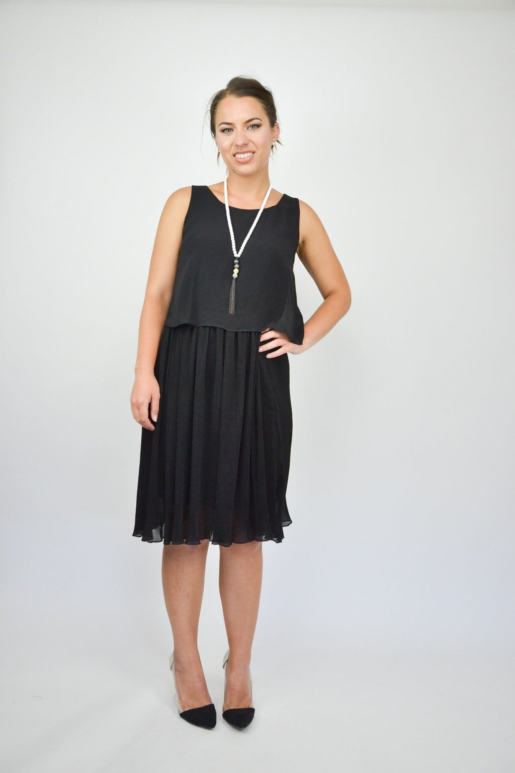 PLEAT BOTTOM DRESS - DRX9D33 - Ebony Boutique NZ