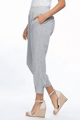 PULL ON LINEN PANTS SPOT - GSM35169 - Ebony Boutique NZ