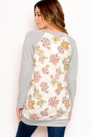 RAGLAN SLEEVE SWEATER FLORAL RIB BODY VEE NECK - RAGLAN SLEEVE SWEATER FLORAL RIB BODY VEE NECK - Ebony Boutique NZ