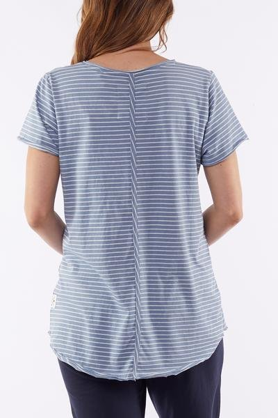RE MI STRIPE VEE TEE - RE MI STRIPE VEE TEE - Ebony Boutique NZ