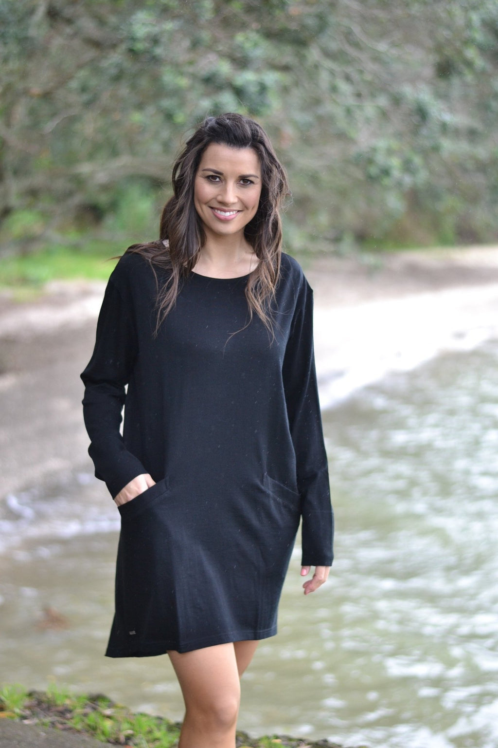 RELAXED TUNIC DRESS - EBAS48TD shown in Black - Ebony Boutique NZ