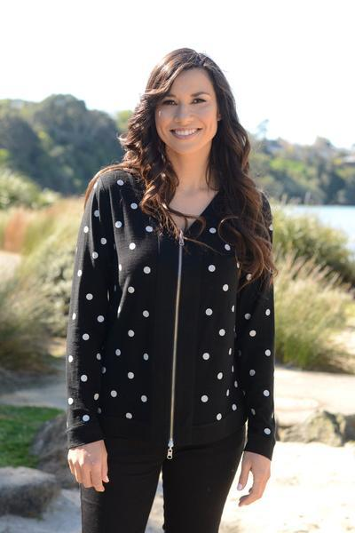 REVERSIBLE SPOT/PLAIN CARDIGAN - REVERSIBLE SPOT/PLAIN CARDIGAN - Ebony Boutique NZ