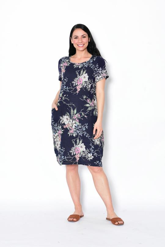 RIB SLEEVE & SIDE PANEL DRESS WITH POCKETS - RIB SLEEVE & SIDE PANEL DRESS WITH POCKETS - Ebony Boutique NZ
