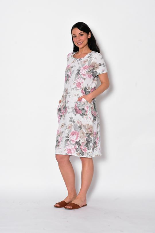 RIB SLEEVE & SIDE PANEL LINEN DRESS WITH POCKETS - RIB SLEEVE & SIDE PANEL LINEN DRESS WITH POCKETS - Ebony Boutique NZ