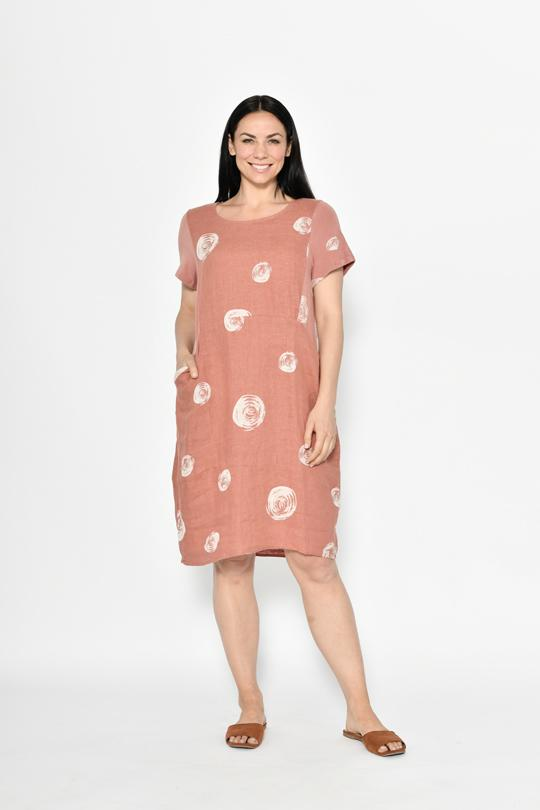 RIB SLEEVE & SIDE PANEL LINEN DRESS WITH POCKETS - No image set - Ebony Boutique NZ
