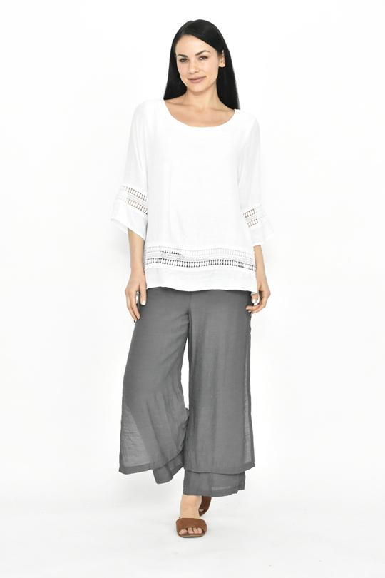SIDE BUTTON LAYERED PANT - LA187 - Ebony Boutique NZ