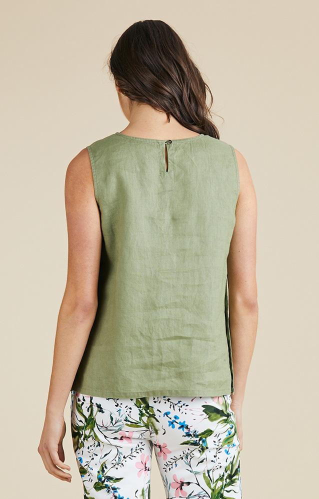 SIDE BUTTON LINEN SINGLET - No image set - Ebony Boutique NZ