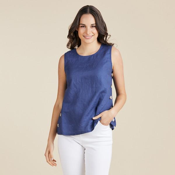 SIDE BUTTON LINEN SINGLET - GSM37314 - Ebony Boutique NZ