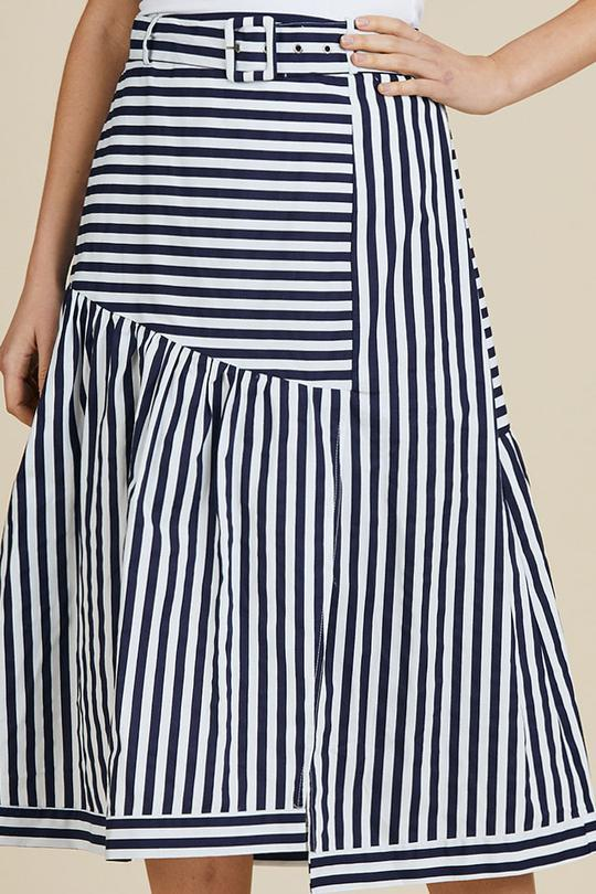 SIMONE STRIPE SPLICED SKIRT - HV37270 - Ebony Boutique NZ