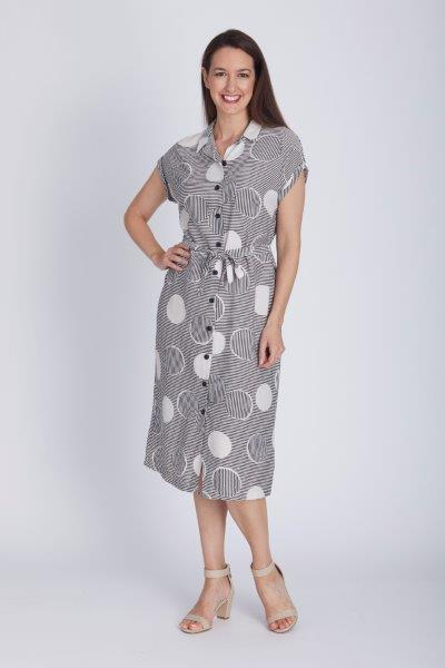 STRIPE SPOT SHIRTMAKER DRESS - STRIPE SPOT SHIRTMAKER DRESS - Ebony Boutique NZ