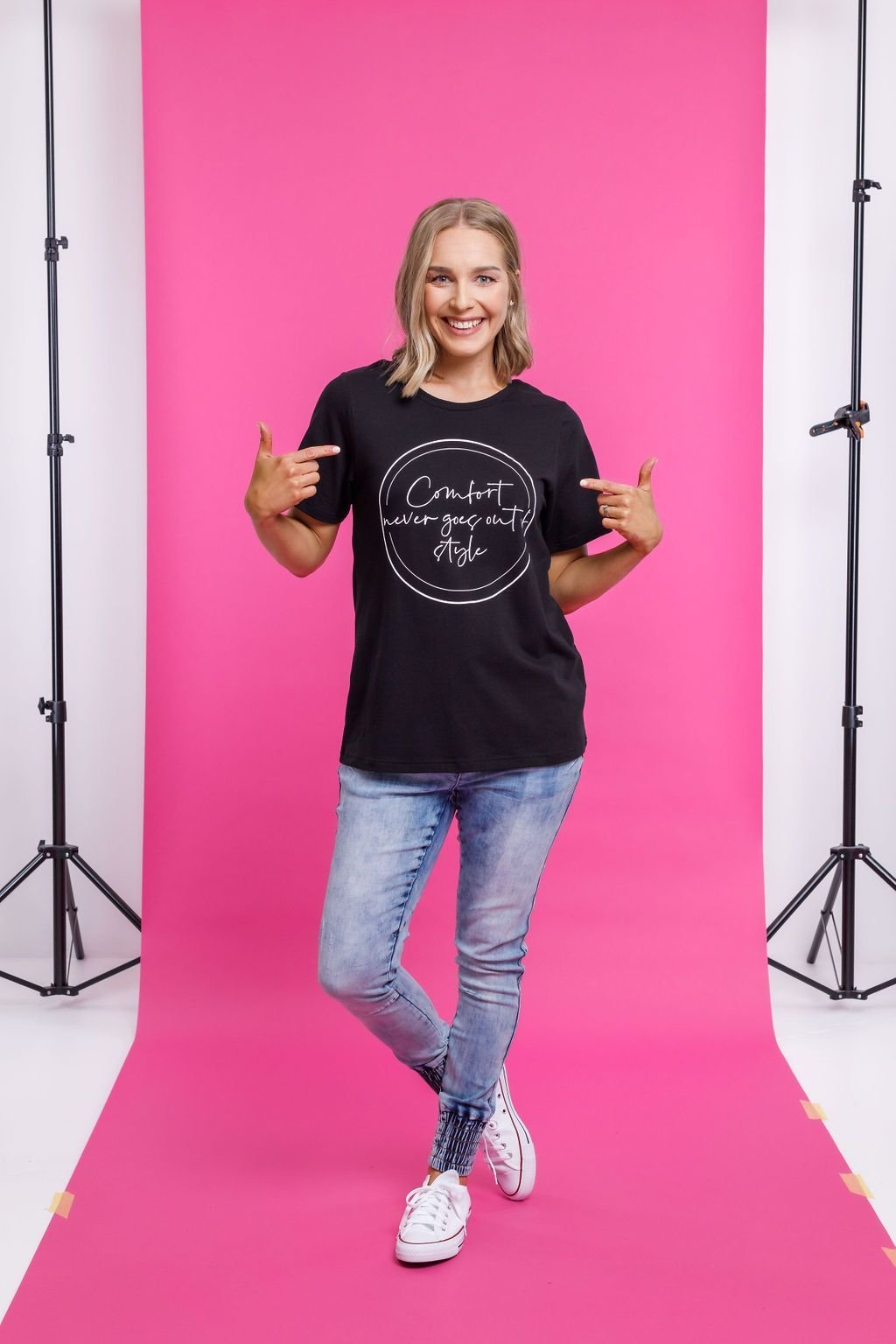 TAYLOR TEE BLACK - Home Lee Taylor Tee - Ebony Boutique NZ