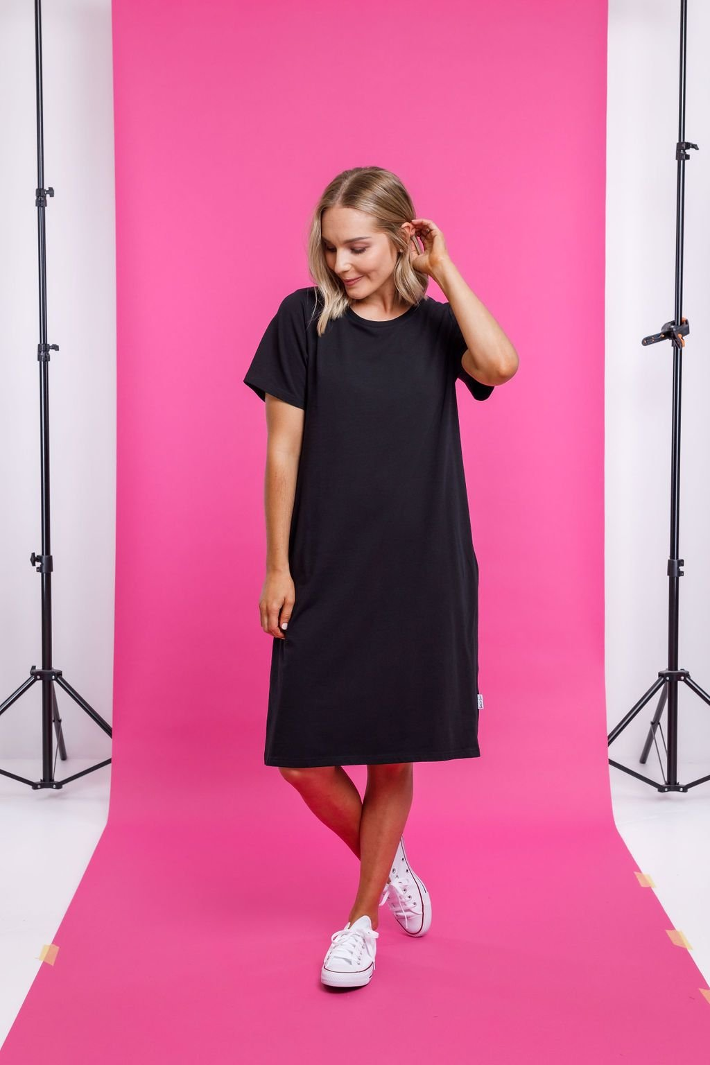 TAYLOR TEE DRESS BLACK - Home Lee Taylor Tee Dress - Ebony Boutique NZ