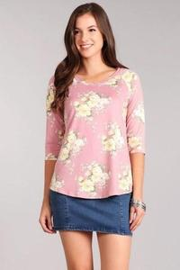 TEE PINK FLORAL - TEE PINK FLORAL - Ebony Boutique NZ