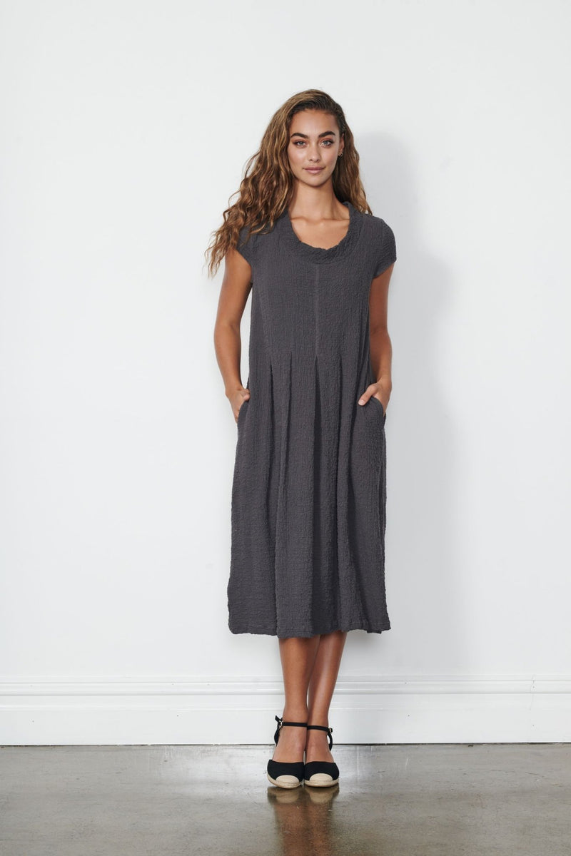 TEXTURED & PLEATED DRESS - Caju Dress Textured and Pleated - Ebony Boutique NZ