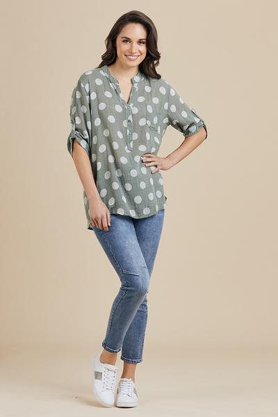 THREADZ NEHRU SPOT TOP - THR36676 - Ebony Boutique NZ