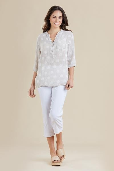 THREADZ NEHRU SPOT TOP - THREADZ NEHRU SPOT TOP - Ebony Boutique NZ