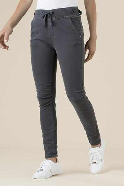 TIE FRONT GATHERED JEANS - THR36713 - Ebony Boutique NZ