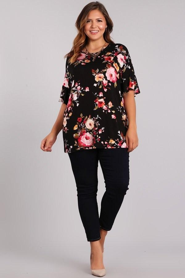 TOP FLOWER PRINT - TOP FLOWER PRINT - Ebony Boutique NZ