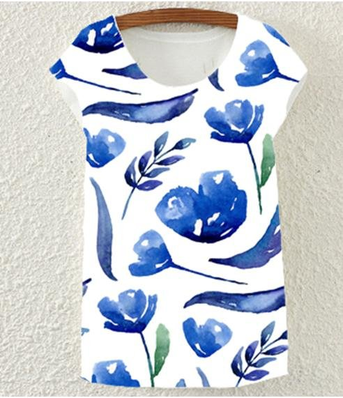 VS TEE BLUE FLORAL - No image set - Ebony Boutique NZ