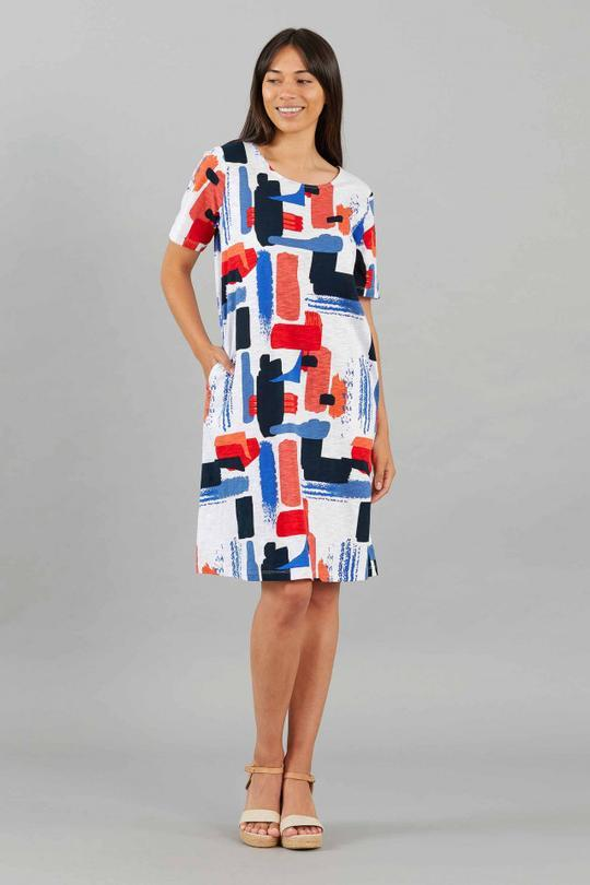 YARRA TRAIL COLLAGE PRINT DRESS - YARRA TRAIL COLLAGE PRINT DRESS - Ebony Boutique NZ