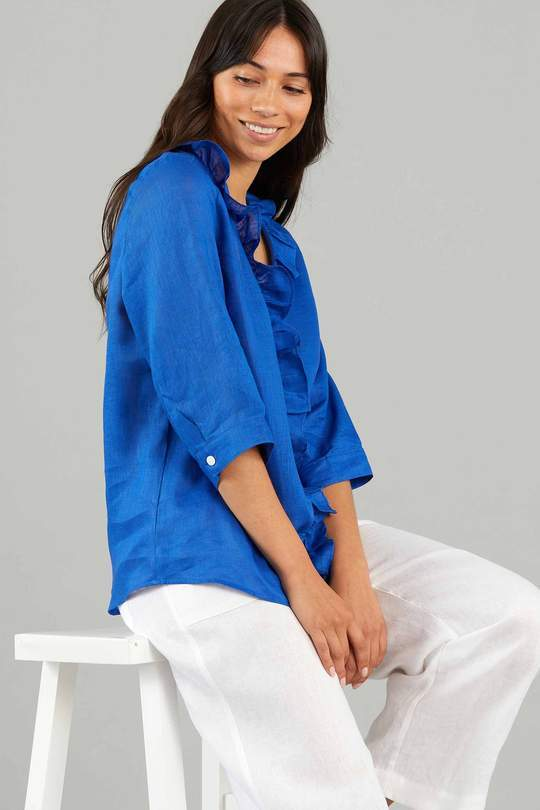 YARRA TRAIL ESSENTIAL RUFFLE LINEN SHIRT - Yarra Trail Ruffle Linen Shirt - Ebony Boutique NZ
