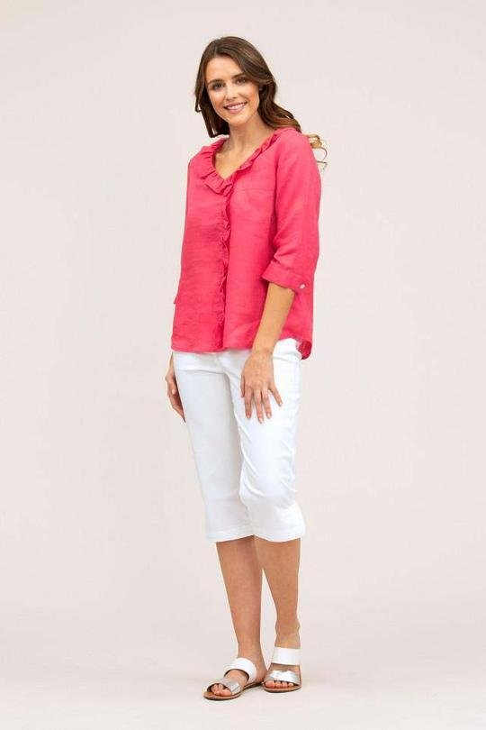 YARRA TRAIL ESSENTIAL RUFFLE LINEN SHIRT - YARRA TRAIL ESSENTIAL RUFFLE LINEN SHIRT - Ebony Boutique NZ