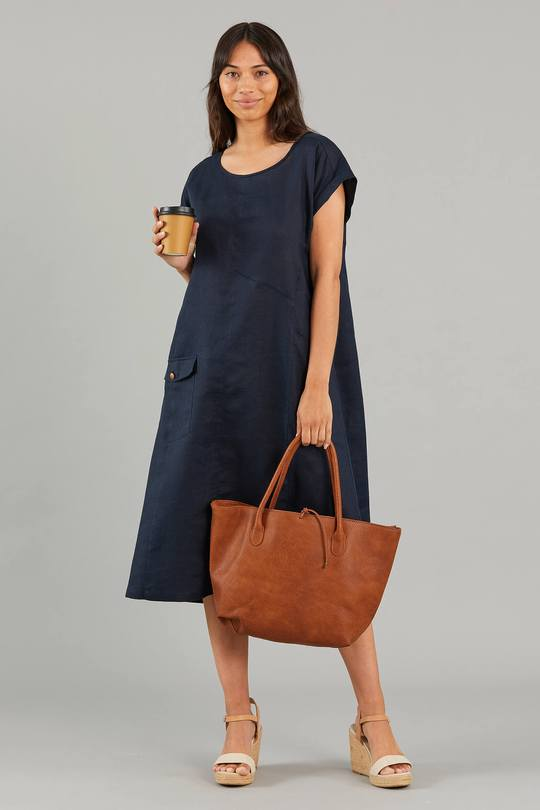 YARRA TRAIL PANELLED LINEN DRESS - YT21S9199 - Ebony Boutique NZ