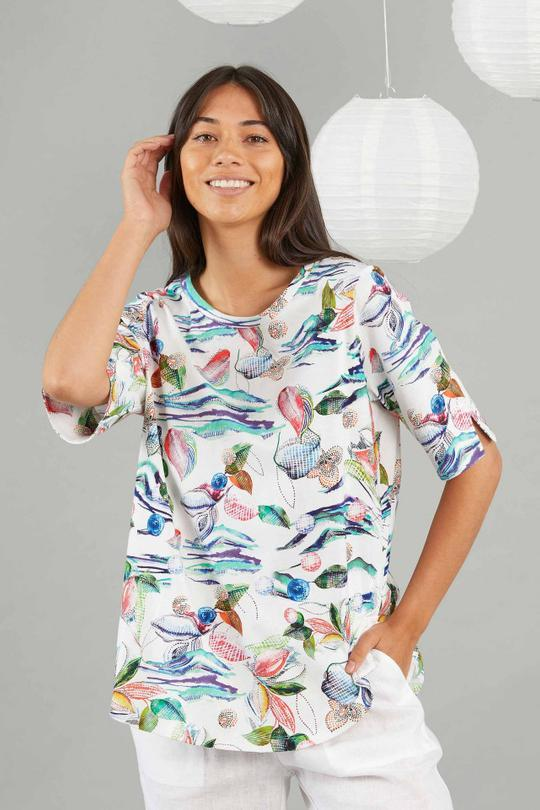 YARRA TRAIL WATERCOLOUR PRINT TEE - YT21S7138 - Ebony Boutique NZ