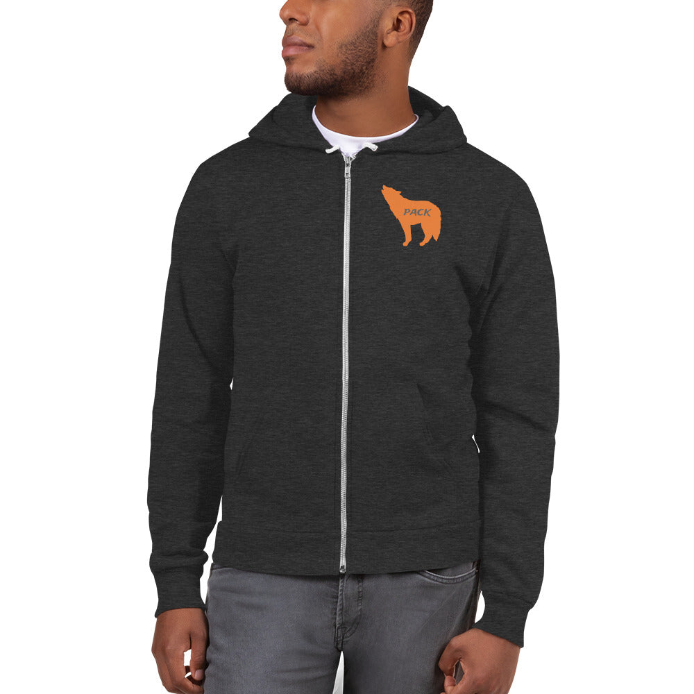 Wolf Pack American Apparel Full Zip Hoodie (Orange Wolf)