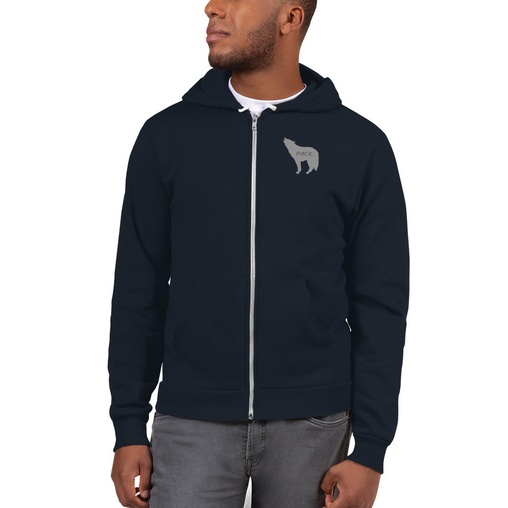 Wolf Pack American Apparel Full Zip Hoodie (Gray Wolf)