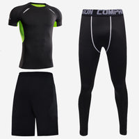 Sports short-sleeved men's short-sleeved body suit three-piece suit