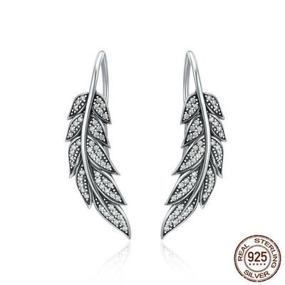 Mika - Vegan Womens Sterling Silver Feather Wings Earrings
