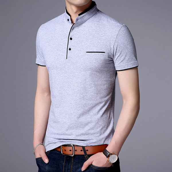 Casual solid color stand collar cotton short sleeves